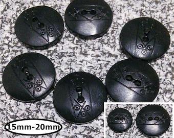 6 buttons, 15mm, 20mm, BLACK,  (no 24-32), button 2 holes,