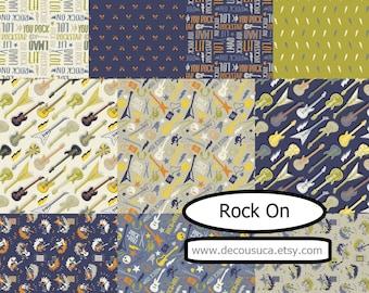 NEW, Bundle, 10 prints, Guitar, music, Rock On, Camelot Fabrics