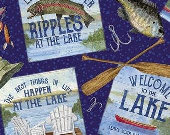 Fabric fish pattern 100% cotton, #10550 NAVY, variable sizes - At The Lake of Riley Blake