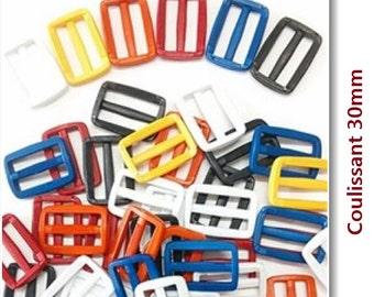 3 + 3= 6, Sliding, loop, 30mm, 1 1/4 inch, plastic, kit of 6