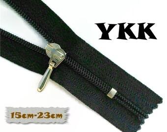 YKK, 15cm to 23cm, Dark Navy, Zippers, Silver Metal Slider, 3C, Decorative Clasp, Non-Detachable, Z100