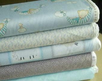 SALE, Bundle, 5 prints, Bears, Sweety Dreams, Quilt cotton, (Reg 18.80-97.45)