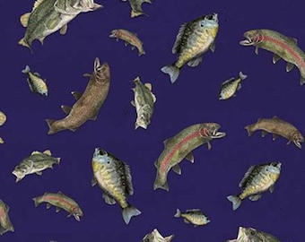 Fabric trout pattern 100% cotton, #10552 NAVY, variable sizes - At The Lake of Riley Blake