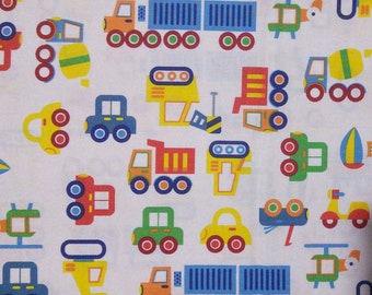 SALE, Truck, white, Rainbow, cotton quilt, cotton designer