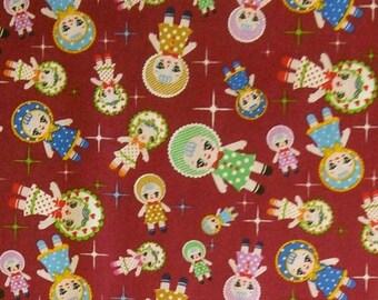SALE, Windham Fabrics, Doll, red, 100% cotton, cotton quilt, cotton designer