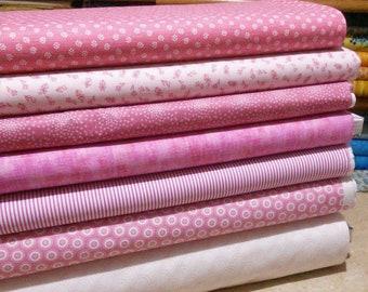 SALE, Bundle of 7 prints, Pink Cotton, Quilt Cotton, 1 of each print, (Reg 26.53-136.43)