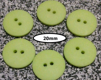 6 Buttons, 20mm, LIME GREEN, button 2 holes, BTN 117C