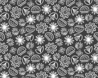 SALE, Flower, white, Carbon, 30180406, col 01, Camelot Fabrics, cotton, cotton quilt, cotton designer, (Reg 3.76-21.91)