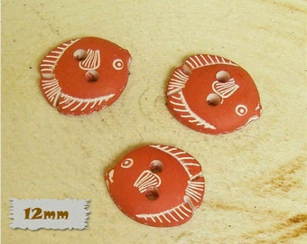 """3 Buttons, Fish, ORANGE, 1/2 """", 12mm, Polyester, Casein, Vintage, 1980, Fancy Button, Solid Button, BF53"""