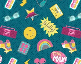 Stickers, teal, 27180402, Retro Blast, Camelot Fabrics, cotton, cotton quilt, cotton designer