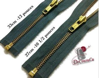 YKK, Gray blue-jeans, fermeture éclair détachable, 33cm (13 po), et , 27cm, (10 1/2po) maille gold antique, no5, ZZ2