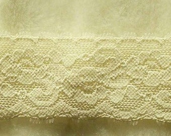 DT34, Lace elastic, cream, 5cm, 2  inch, at the metre (39 inch)
