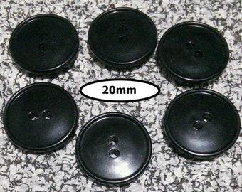 6 Buttons, 20mm, BLACK, button 2 holes, BTN 119