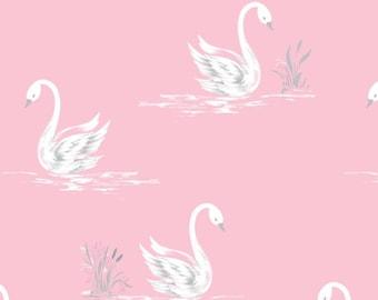 SALE, Swans, White, Pink, The Grace, Laura Ashley, 71170302, 02, Camelot Fabrics, cotton, cotton quilt, cotton designer, (Reg 3.76-21.91)