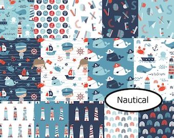 Bundle 14 designs, Beyond the sea, Nautical, Camelot Fabrics, cotton, cotton quilt, cotton designer