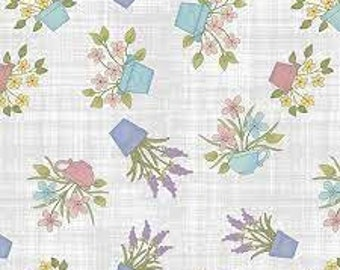 Fabric Happy Flowers, Light Sky, Butterfly Garden, #06362, 05, Benartex, 100% cotton, cotton quilt, cotton designer