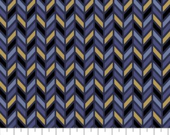 Inner Compass, Metallic gold, navy, violet, Whitten in the stars, 66190502L, col 01, Camelot Fabrics, 100% coton