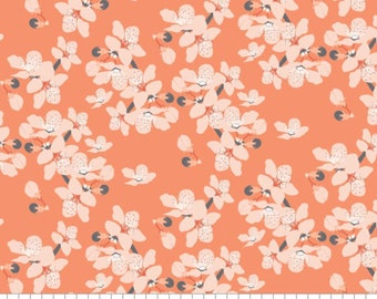 Flower, orange, 29190102, col 01, Black Swan, Camelot Fabrics, 100% Cotton