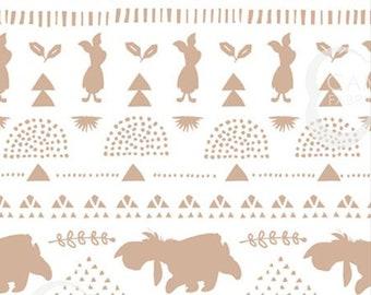 Silhouette stripe, Winnie The Pooh, tan, 85430409, Camelot Fabrics, cotton, cotton quilt, cotton designer, (Reg 4.61-26.99)