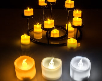 smokeless candle etsy12 60 pcs electronic realistic and bright flickering bulb battery operated flameless led tea light, electric fake candle in wave open
