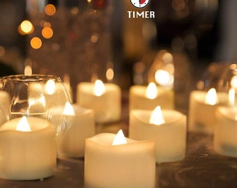 12-60 pcs LED Tea Lights Flameless Candle with Timer, Warm White, 6 Hours on and 18 Hours off, 1.4 x 1.3 Inch