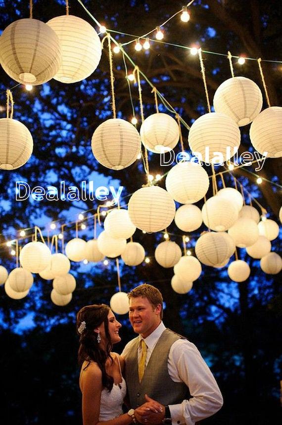 "USA 12x 12/"" White Round Chinese Paper Lantern For Wedding led hanging Decor"