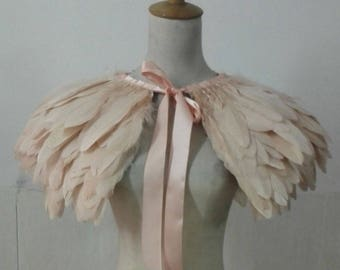 Unique goose feather cape# FC594