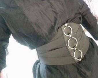 Elastic waist belt ornamented with metal rings at front #BLT17023