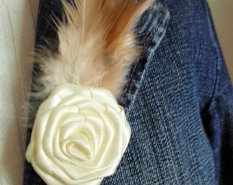 USD39.80 for 20pcs/lot, rose and feather corsage #BR15002