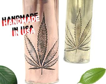 Pot Leaf lighter case, custom with names, marijuana leaf lighter,metal lightercase,with bottom, Copper,Brass,lighter holder,Handmade by Me