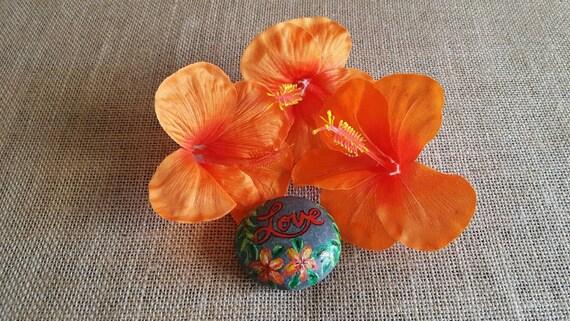 Orange hibiscus fabric silk flowers set of 3 loose flowers etsy mightylinksfo