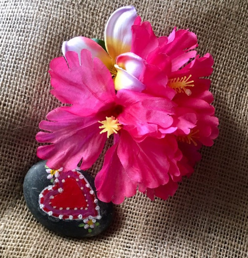 Hibiscus Flower Hair Clip On 3 Metal Clip Etsy