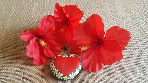 Red hibiscus tropical flowers silk flowers set of three loose red hibiscus tropical flowers silk flowers set of three loose flowers from artandhula on etsy studio mightylinksfo