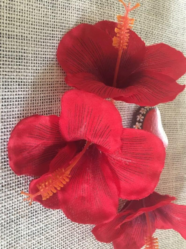 Hibiscus flower red tropical flowers,3 loose flowers,wedding flowers