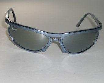 77bd6e1244 Vintage B L Ray-Ban W2492 PS5 G15 Metallic Silver Mirror Crystal Lens  Predator Cats Series Wrap Sunglasses w CASE