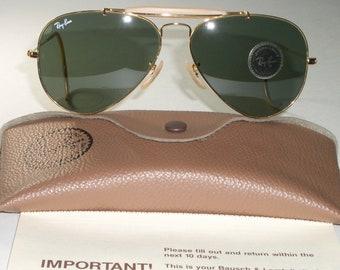 4eb59ed3b3b 1980 s Vintage 58  14mm Bausch   Lomb Ray-Ban L0216 24K GP G15 Large Metals  Aviator Sunglasses NEW