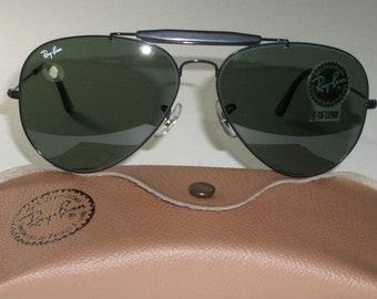 97cd19b409 58  14mm Vintage B L Ray-Ban USA Black Chrome G15 UV Outdoorsman Aviator Sunglasses  NEW