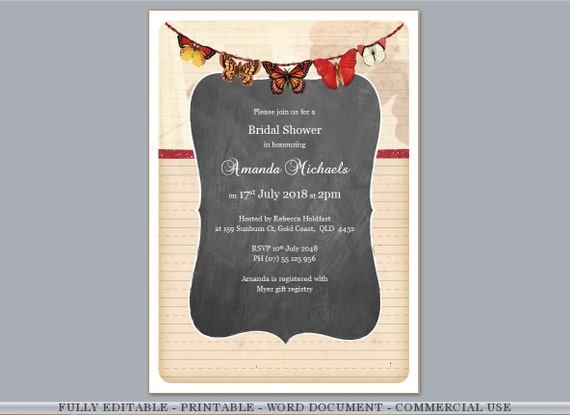 Butterflies Chalkboard Fully Editable Rustic Printable Bridal Shower Birthday Anniversary Wedding Invitations Template Free Rsvp Gift Card