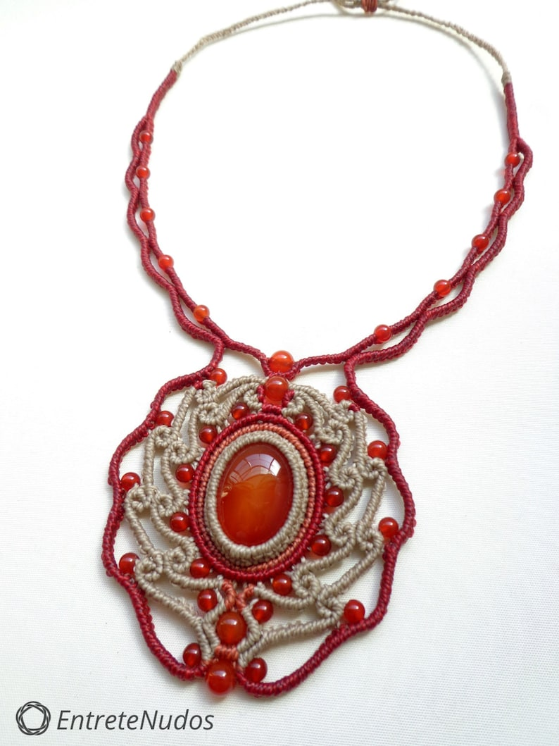 Beautiful handcrafted macrame necklace with red Agate stone and beads