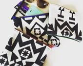 Geometric native black and white accessory bag 6.5x8 in.