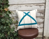 Camping wool pillow teal tipi 20x20 cover
