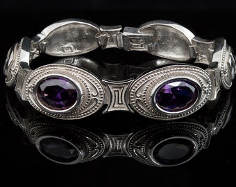 Greek Key Meander Bracelet in Sterling Silver with zircon, Meander Bracelet, Sterling silver bracelet, Greek Key bracelet, Greek Jewelry