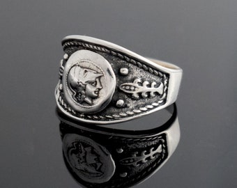 Goddess Athena Coin Ring, Handmade Ring, Sterling Silver Ring, Ancient Greek Coin Ring, Unisex Ring, Greek Jewelry