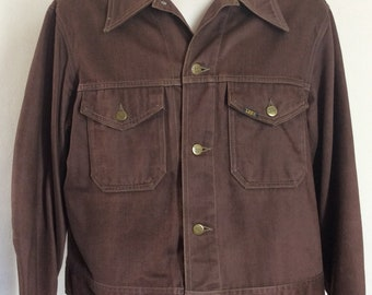 e7997eac16d Vtg 70s Lee Brown Trucker Jacket L 44 Made In USA