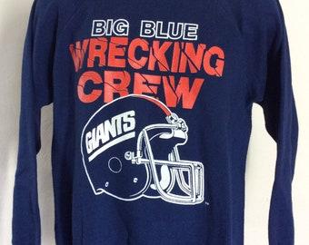 3a978a33 Vtg 80s New York Giants Big Blue Wrecking Crew Raglan Sweatshirt M Trench NY  NFL Football