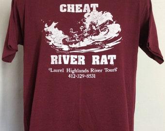 18754975d08 Vtg 1977 Cheat River Rat T-Shirt Maroon L 70s Whitewater Rafting  Pennsylvania Sportswear 50 50 Souvenir