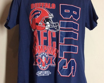 Vtg 1992 Buffalo Bills AFC Champions T-Shirt Blue L 90s Super Bowl XXVI  Thin 50 50 5be5fc965