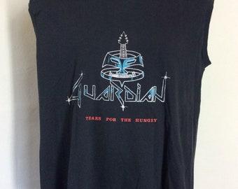 473714f4d Vtg 80s Guardian Concert Muscle T-Shirt Black M L Christian Heavy Metal Rock  Band