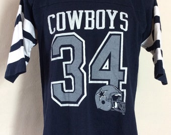 17726706b2c Vtg 80s Champion Dallas Cowboys Herschel Walker Jersey Style T-Shirt Blue M  NFL Football Number 34