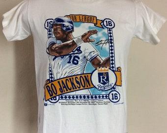 0c3a99ae68c Vtg 1989 Bo Jackson Kansas City Royals T-Shirt White XS 80s MLB Baseball  Player KC